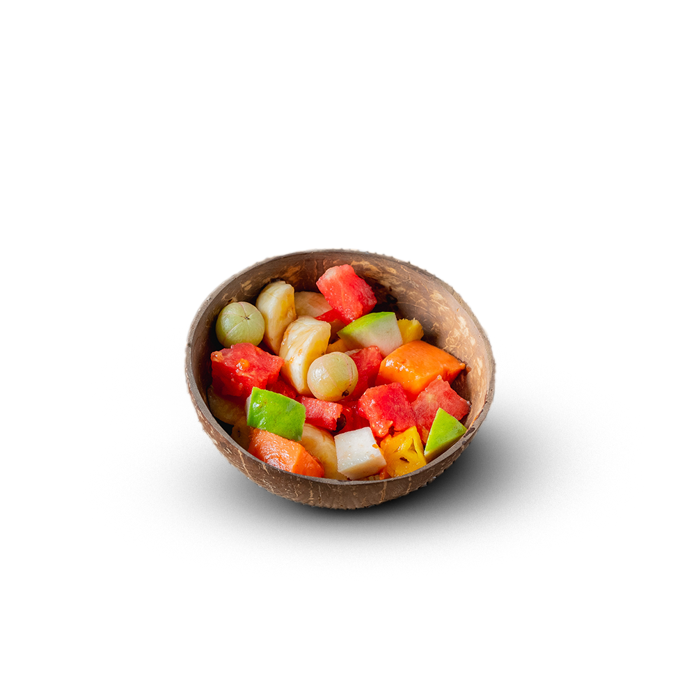 Fruit Salad in Eco Friendly Coconut Shell
