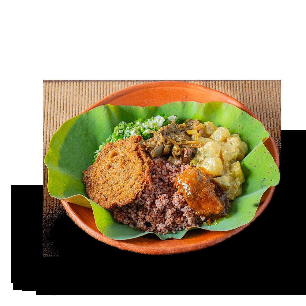 Sri Lankan heirloom rice and Curry